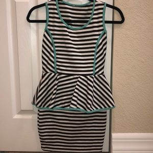 BCBG Dresses - Peplum Dress- Black/White Stripes